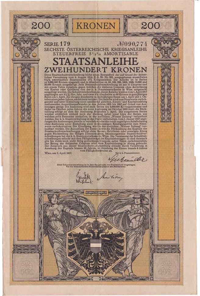 Staatsanleihe von 1917 gesetzt in der Wertzeichen-Type